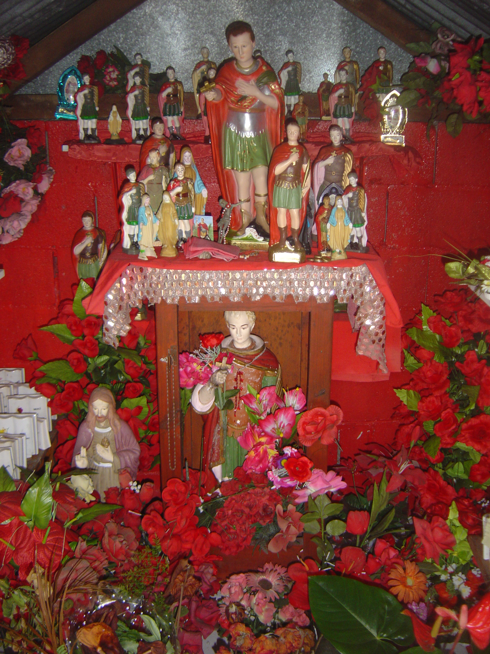 Statues of Saint Expeditus, an object of wide worship on the French island of Réunion, in the Indian Ocean, east of Madagascar.