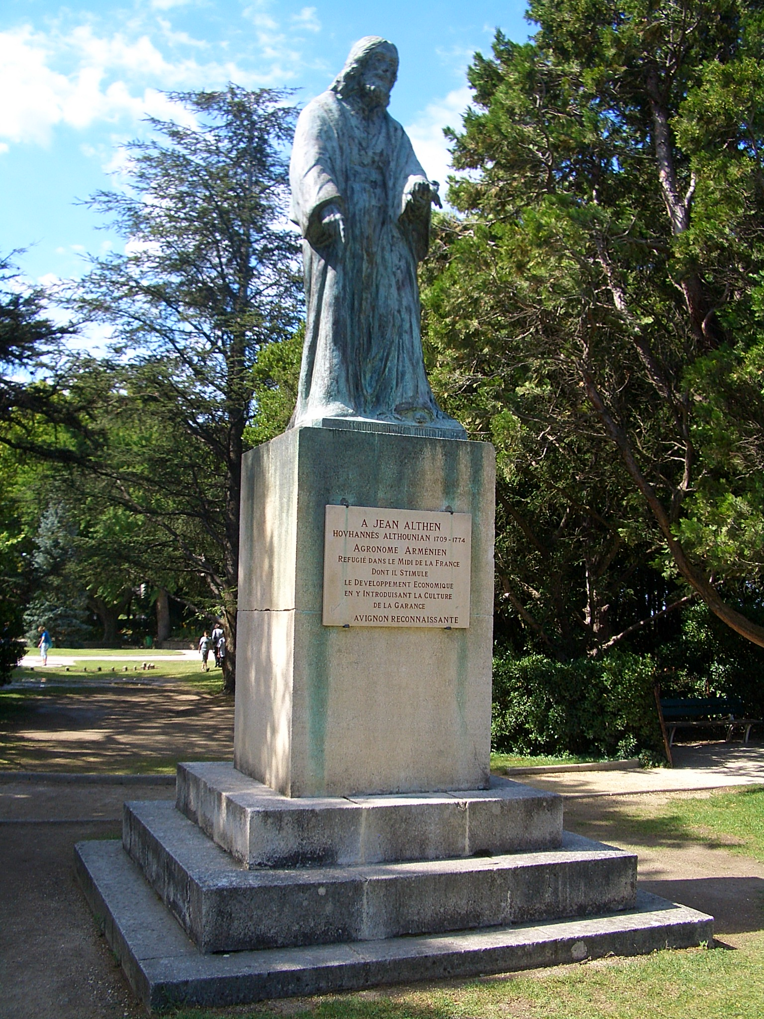 A statute in Avignon, a monument to Jean Althen – Hovhannes Althounian (1709-1774) – an Armenian agronomist who introduced a new dyeing technique, thereby boosting the economy in the south of France in the 18th century; a commune (district) of the country is named after him.